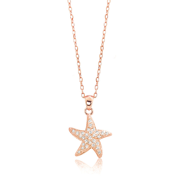 Rose Gold 925 Sterling Silver CZ Likeable Starfish Necklace Wholesale