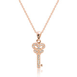 Rose Gold over Silver CZ Shining Key Pendant Necklace Wholesale
