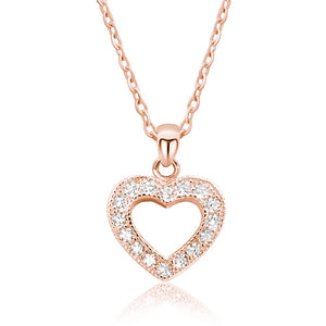 CZ Glamorous Rose Gold Plated Silver Heart Necklace Wholesale Lots