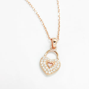 Rose Sterling Silver CZ Romantic Heart Lock Necklace Wholesale Lots
