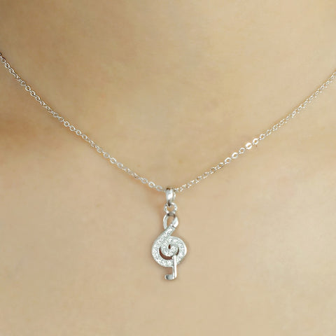 925 Sterling Silver CZ Wonderful Treble Clef Necklace Wholesale Lots
