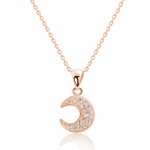 Rose Gold Over Silver CZ Half Moon Pendant Necklace Wholesale Lots