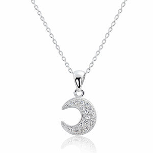 925 Sterling Silver CZ Delightful Half Moon Pendant Necklace Wholesale