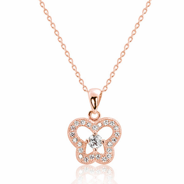 Rose Gold Plated 925 Silver CZ Elegant Butterfly Necklace Wholesale
