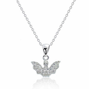 925 Sterling Silver Cubic Zirconia Bat Pendant Necklace Wholesale Lots