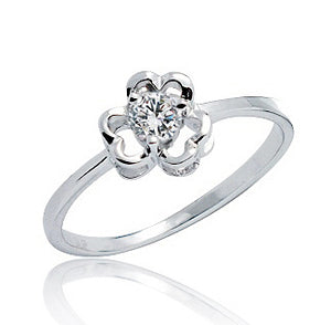 Cute Flower CZ 925 Sterling Silver Ring Wholesale