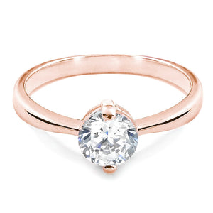 Rose Gold Plated Sterling Silver CZ Two Prong Ring Wholesale Lot