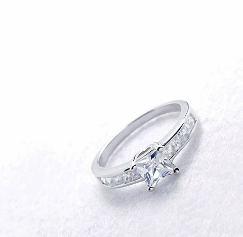 Gorgeous 925 Sterling Silver Princess Cut CZ Ring Wholesale Lots
