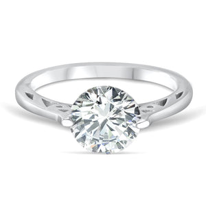 3.35 Carat Cubic Zirconia Fashion Solitaire Sterling Silver Ring Wholesale