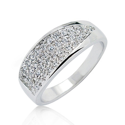 Sterling Silver 0.81 Carat CZ Cluster Ring Wholesale