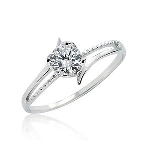 0.8 Ct CZ Fashion Solitaire Silver Ring Wholesale Lot