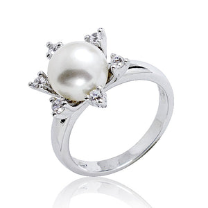 8-9 mm Pearl Star CZ Sterling Silver Ring Wholesale