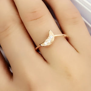 Rose Gold Plated Silver CZ Moon Ring Wholesale Lots