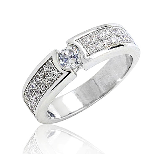Micro Pave Setting CZ 925 Sterling Silver Ring Beautiful Wholesale