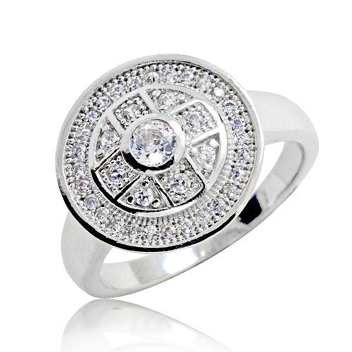 Unique Sterling Silver Micro Pave 1.3 Ct CZ Ring Wholesale