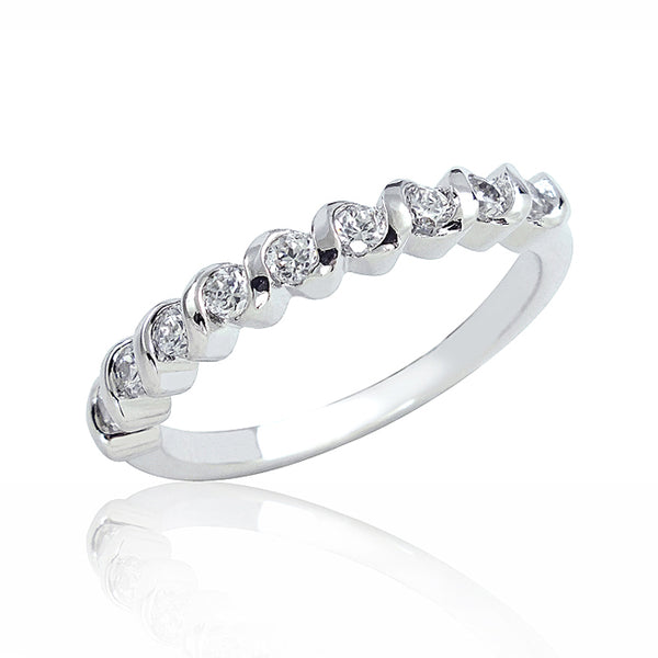 Sterling Silver Cubic Zirconia Half Eternity Ring Wholesale Lots
