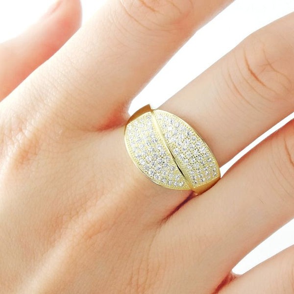 9k Gold Over Silver Micro Pave Setting CZ Gorgeous Ring Wholesale