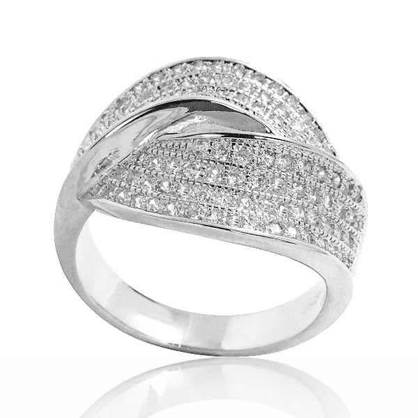 Gorgeous Micro Pave Setting CZ 925 Sterling Silver Ring Wholesale