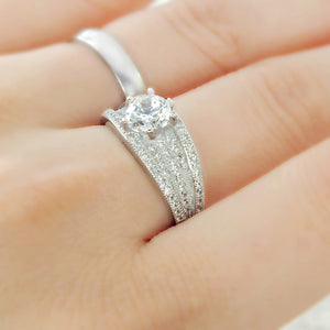 Brilliant Cut & Pave CZ Sterling Silver Ring Wholesale Lots 2