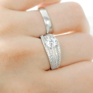 Brilliant Cut & Pave CZ Sterling Silver Ring Wholesale Lots 3