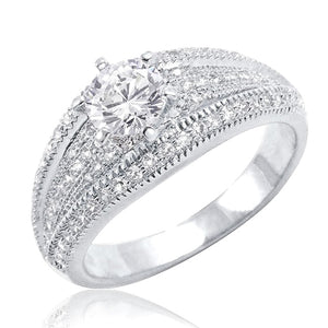 Brilliant Cut & Pave CZ Sterling Silver Ring Wholesale Lots