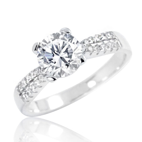 Stunning Sterling Silver 6.5mm Brilliant Cut CZ Ring Wholesale Lots