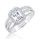 5pcs/Lot Sterling Silver 1ct Baguette Cut CZ Ring Wholesale