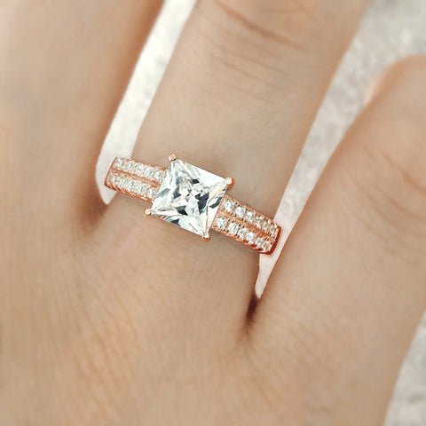 Princess Cut CZ Rose Gold Plated 925 Sterling Silver Ring Wholesale Lots