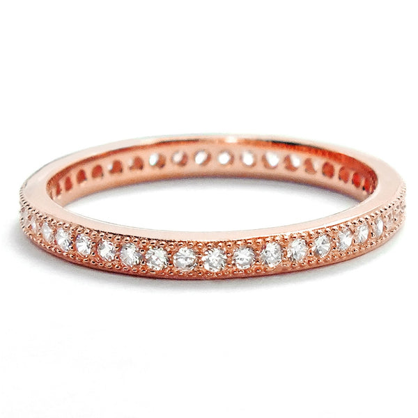 2mm Rose Gold Plated Sterling Silver CZ Eternity Ring Wholesale Lots
