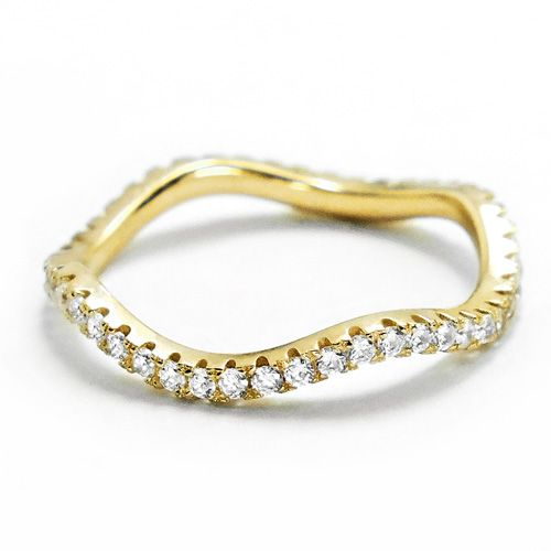Gold Plated Sterling Silver CZ Eternity Wave Ring Wholesale Lot