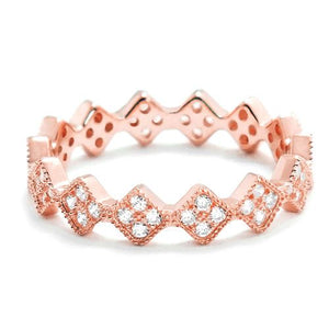 Fancy Rose Gold Plated Silver CZ Eternity Ring Wholesale Lot
