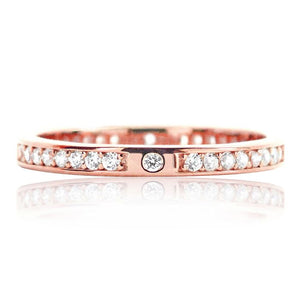 2.2mm Rose Gold Plated Silver Eternity CZ Ring Wholesale