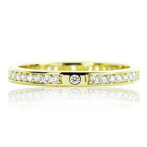 2.2mm Gold Plated Silver Eternity CZ Ring Wholesale Lots