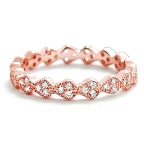 3.2mm Rose Gold Plated Sterling Silver Eternity Ring Wholesale