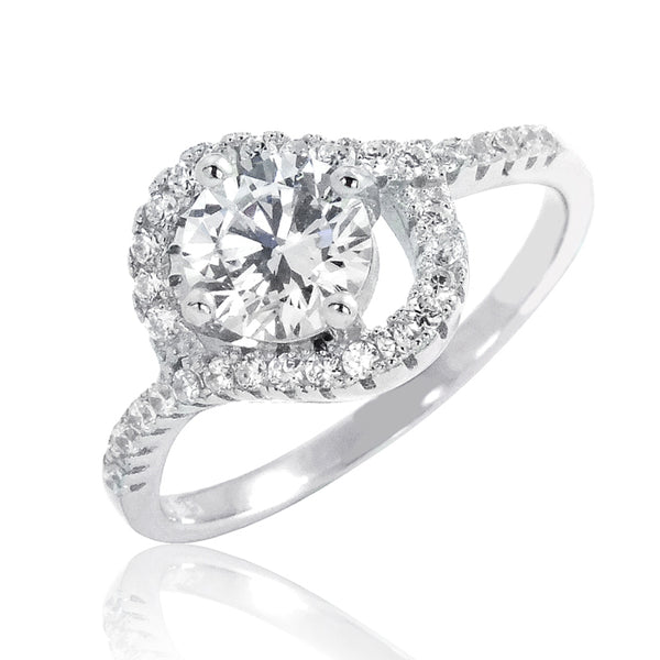 Stunning Brilliant Cut CZ 10.5 mm Sterling Silver Ring Wholesale