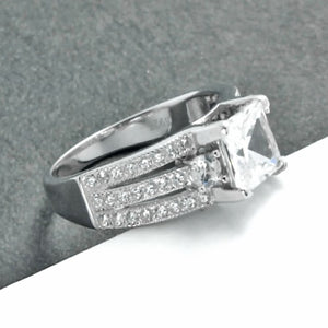 Stunning 2.15 Carat Princess CZ Sterling Silver Ring Wholesale Online