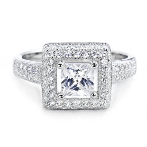 Princess Cut Cubic Zirconia 925 Sterling Silver Ring Wholesale Lots