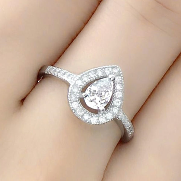 Sterling Silver 0.75 Carat Pear Cut Cubic Zirconia Ring Wholesale Lots