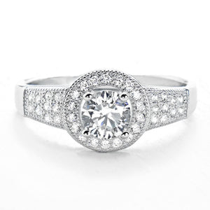 1.0 Carat Brilliant Cut Cubic Zirconia Silver Ring Wholesale