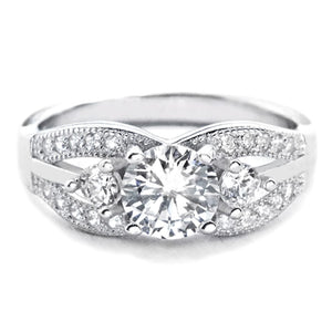 Elegant Brilliant Cut CZ Sterling Silver Ring Wholesale Lots