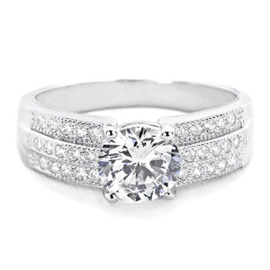 1.45 Carat Brilliant Cut CZ Sterling Silver Ring Wholesale