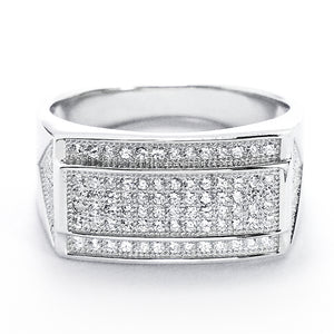 Micro Pave Setting Cubic Zirconia 925 Sterling Silver Ring Wholesale