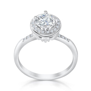 Graceful 9 mm Sterling Silver Brilliant CZ Ring Wholesale Lots