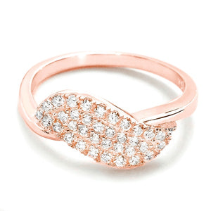 Pave Setting CZ Rose Gold Over Silver Ring Wholesale