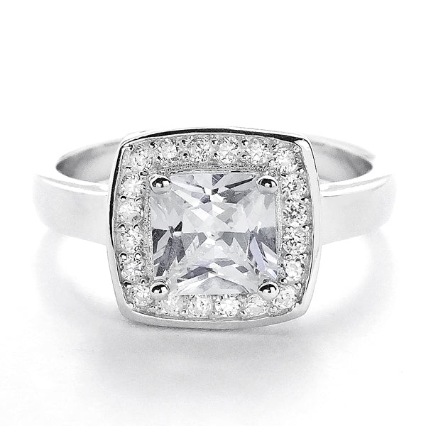 Princess Cut CZ 10 mm Sterling Silver Ring Wholesale Lots