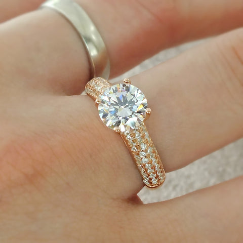 Luxurious Rose Gold Plated Silver CZ Engagement Ring Wholesale Lots