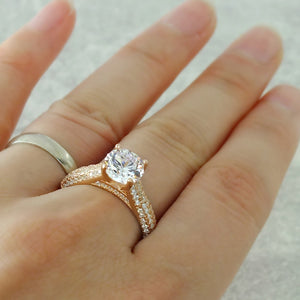 Luxurious Rose Gold Plated Silver CZ Engagement Ring Wholesale Lots 2