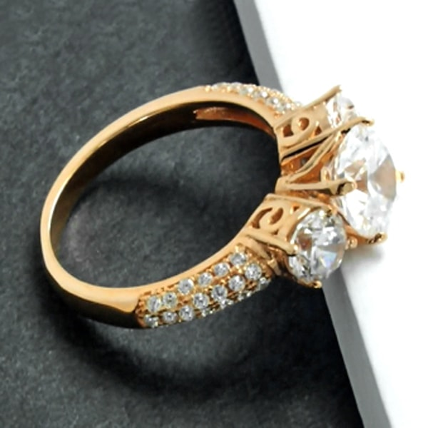 Elegant Rose Sterling Silver Three Stone CZ Ring Wholesale Lots