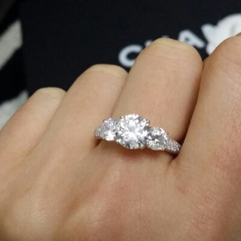 Elegant Sterling Silver Three Stone CZ Ring Wholesale Lots