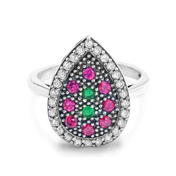 Multi Color Crystal Vintage Silver Ring Wholesale Lots